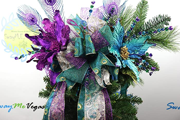 Peacock Tree Topper Purple Tree Topper Christmas Tree Topper Peacock Lantern Swag Peacock Swag Christmas Swag Christmas Centerpiece