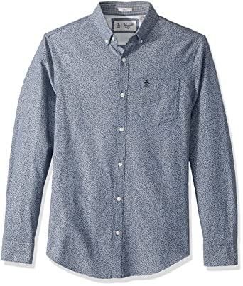 55100be9 Original Penguin Men's Long Sleeve Oxford with Floral Print, Dark Sapphire,  Small
