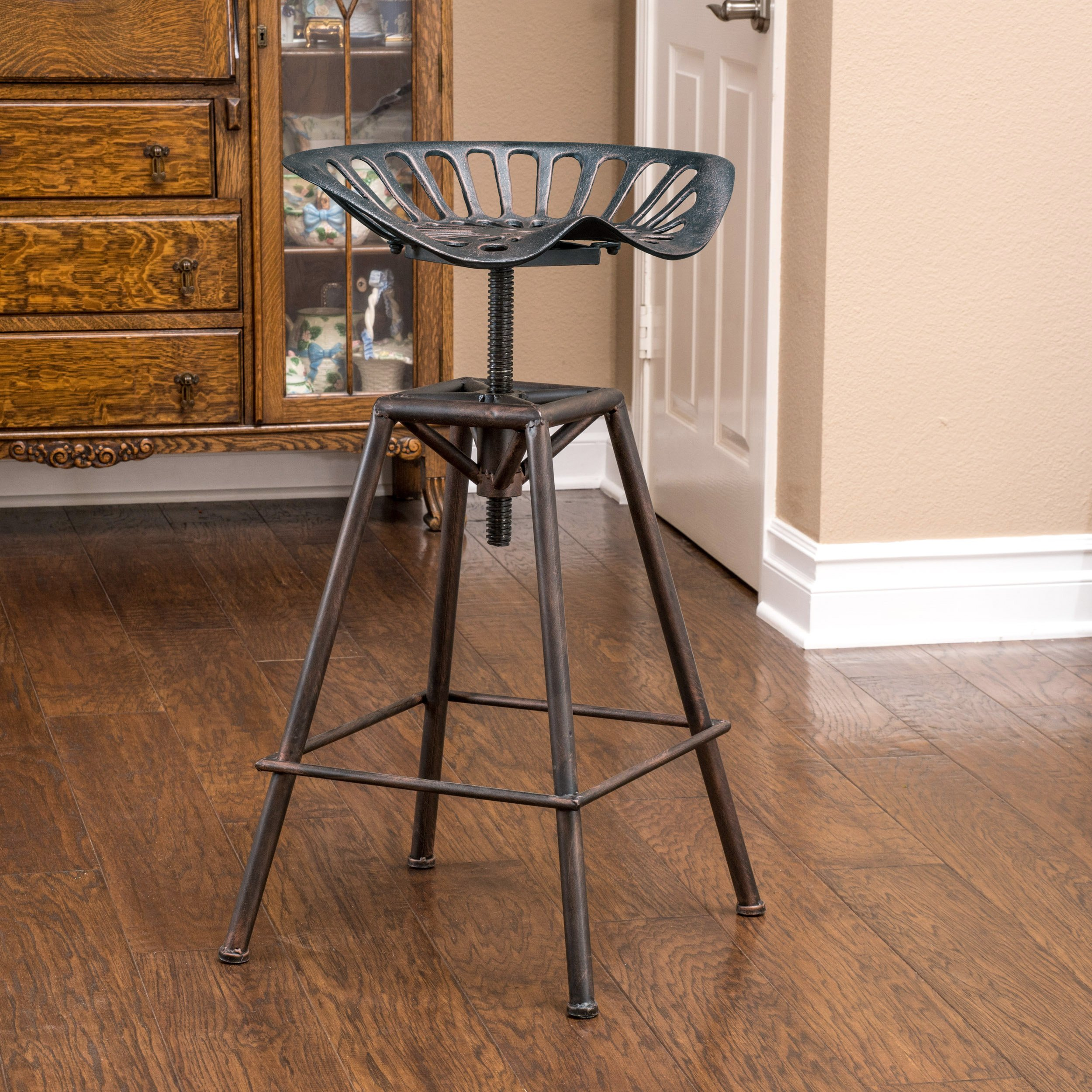 Christopher Knight Home 235249 Great Deal Furniture Charlie Industrial Metal Design Tractor Seat Bar Stool, Brown