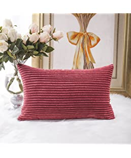 HOME BRILLIANT Solid Striped Corduroy Oblong Lumbar Pillow Case Cushion Cover for Sofa, 30cm x 50cm, Dark Red