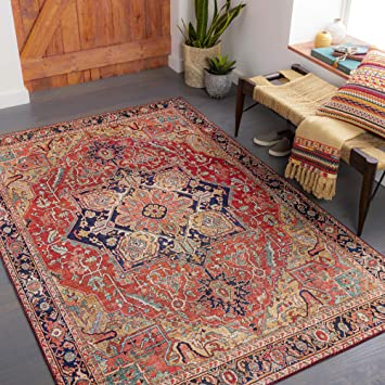 Amazon Com Artistic Weavers Alfons Medallion Oriental Area Rug 2 6 X 7 6 Red Gold Furniture Decor