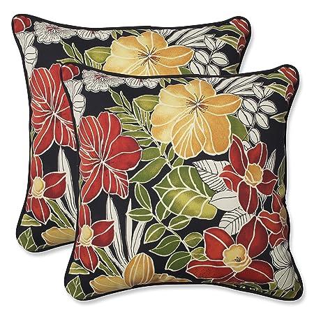 Pillow Perfect Outdoor Clemens Throw Pillow, 18.5-Inch, Noir, Set of 2