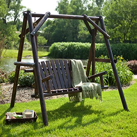 wooden porch swing rustic torched log curved back porch swing and a frame set - Wood Porch Swing With Frame
