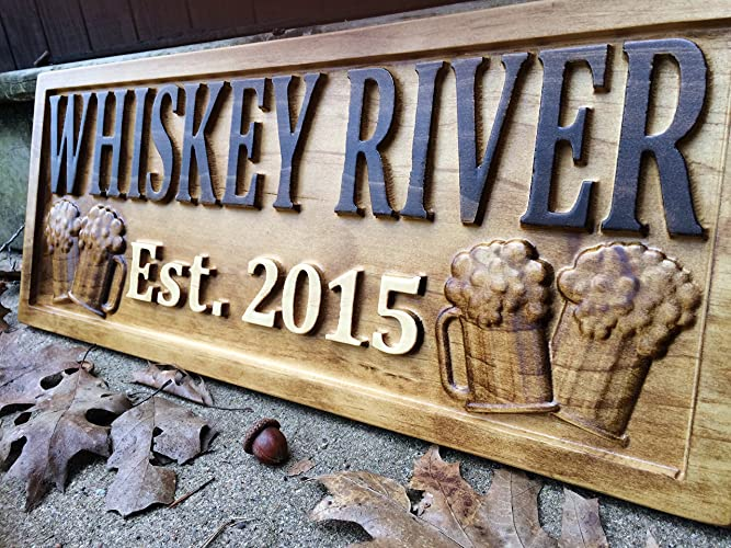 Personalized Bar Sign Custom Carved Wood Sign Personalized Wood Sign Groomsmen Gift Cabin Sign Man Cave & Amazon.com: Personalized Bar Sign Custom Carved Wood Sign ...