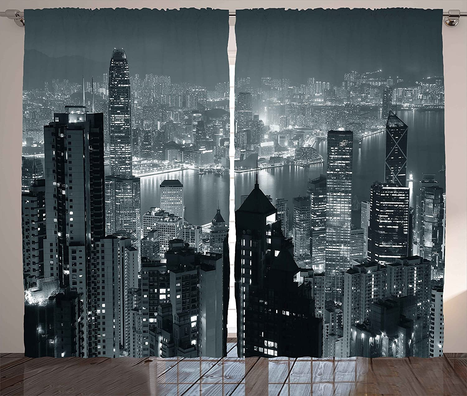 """Ambesonne City Curtains, Aerial Night of View Hong Kong Skyline Famous Modern Urban Town Metropolis Panorama Image, Living Room Bedroom Window Drapes 2 Panel Set, 108"""" X 63"""", Grey"""