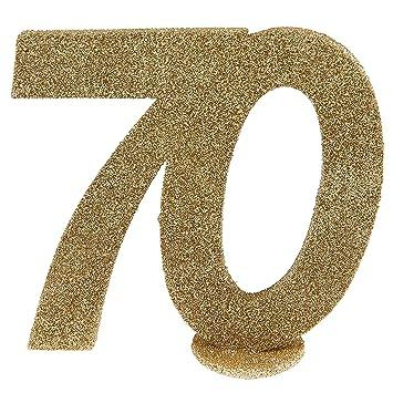 Cama24com Xxl Tischdeko Zahl 70 Geburtstag Gold Glitzer 1 Stuck