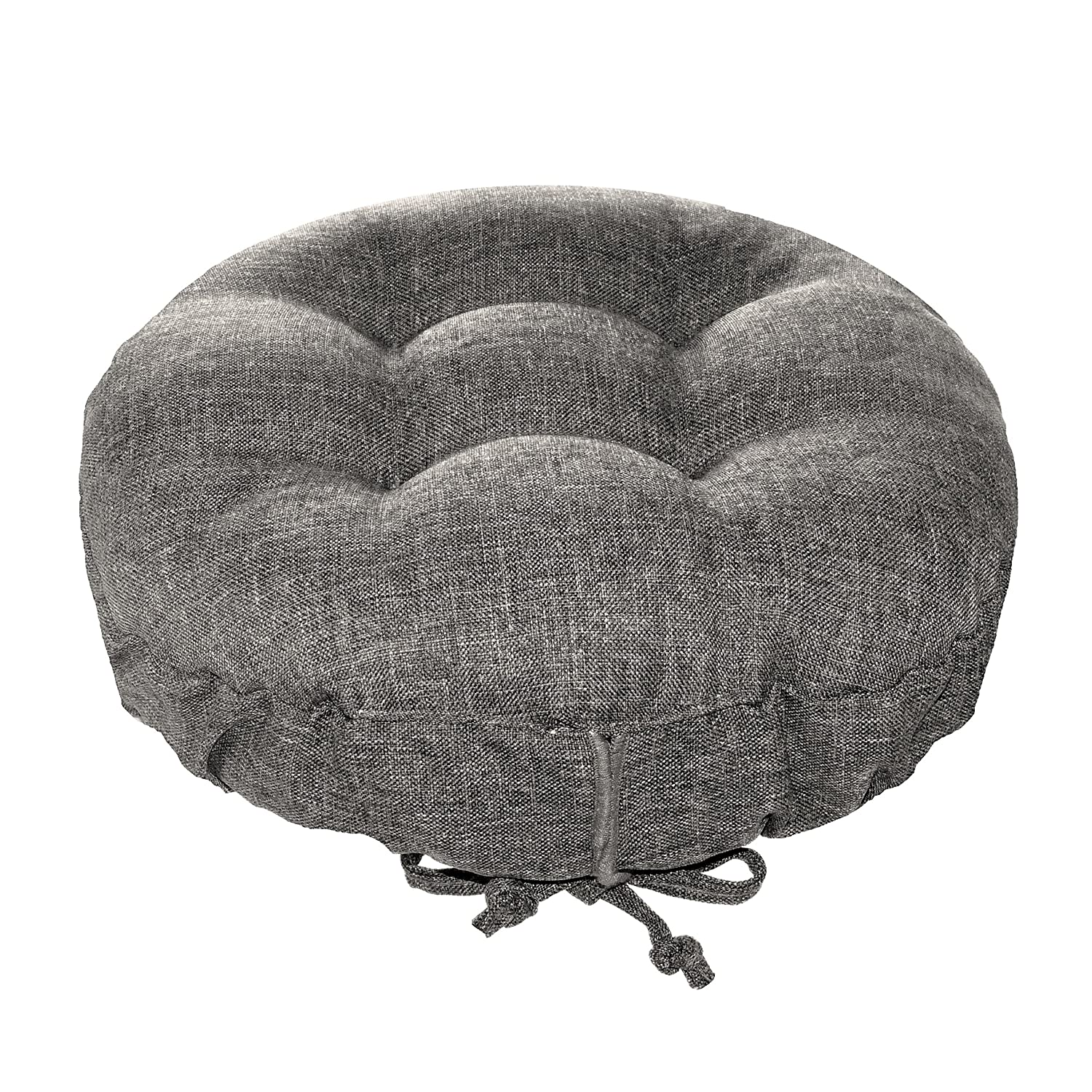 """Padded Round Bar Stool Cover - Hayden Grey - Latex Foam Fill Barstool Cushion with Adjustable Drawstring Yoke - Made in USA (Solid Color) (Gray, Standard) fits most 12"""" - 14"""" Wooden Stools"""