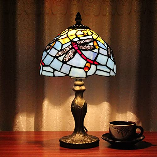 TOYM 8 inch Tiffany Study Pastoral Simplicity Bedroom Reading lamp Small Night table lamp Blue Mediterranean Restaurant is Decorated by Hand