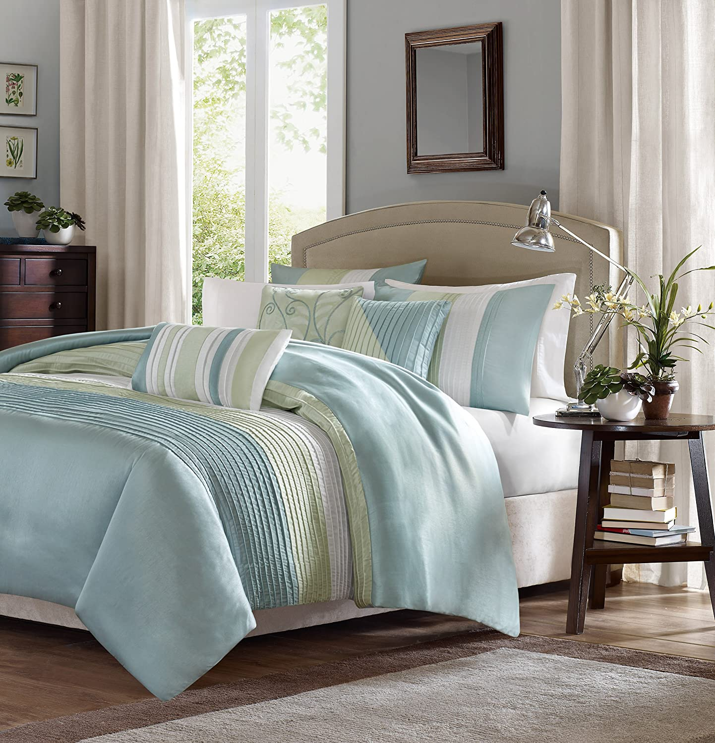 Green bedding set - Amazon Com Madison Park Amherst 6 Piece Duvet Set King Green Home Kitchen