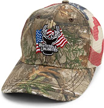 Whitetails Unlimited Camo and American Flag Hat