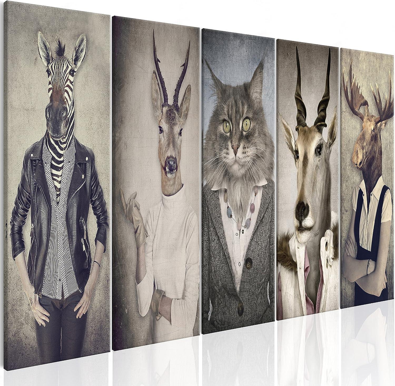 murando - Cuadro en Lienzo Ciervo 225x90 cm Impresión de 5 Piezas Material Tejido no Tejido Impresión Artística Imagen Gráfica Decoracion de Pared Naturaleza Animale Paisaje g-B-0041-b-m