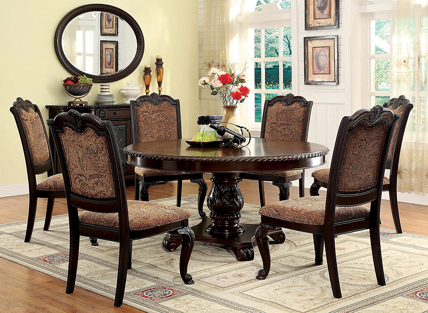 Amazon com furniture of america ferrara 7 piece elegant round dining table set brown cherry kitchen dining