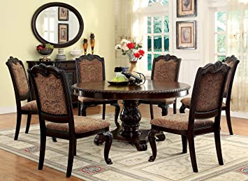 Furniture Of America Ferrara 7 Piece Elegant Round Dining Table Set Brown Cherry