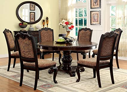 Image Unavailable Not Available For Color Furniture Of America Ferrara 7 Piece Elegant Round Dining Table