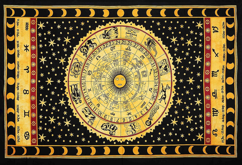 Amazon.com: Yellow Zodiac Horoscope Tapestry, Indian Astrology ...