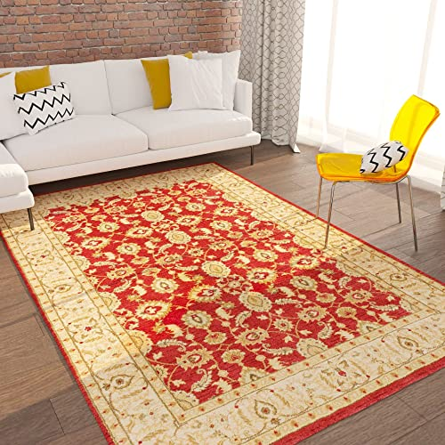 Home Way Turkish Antique Royalty Design Lotto Red Carpet Soft Eclectic Modern and Classic Interiors Oriental 8×10 7'10″ x 9'10″ Traditional Area Rug