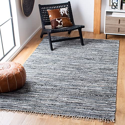 Safavieh Rag Rug Collection RAR128A Hand Woven Grey Cotton Area Rug 6 x 9
