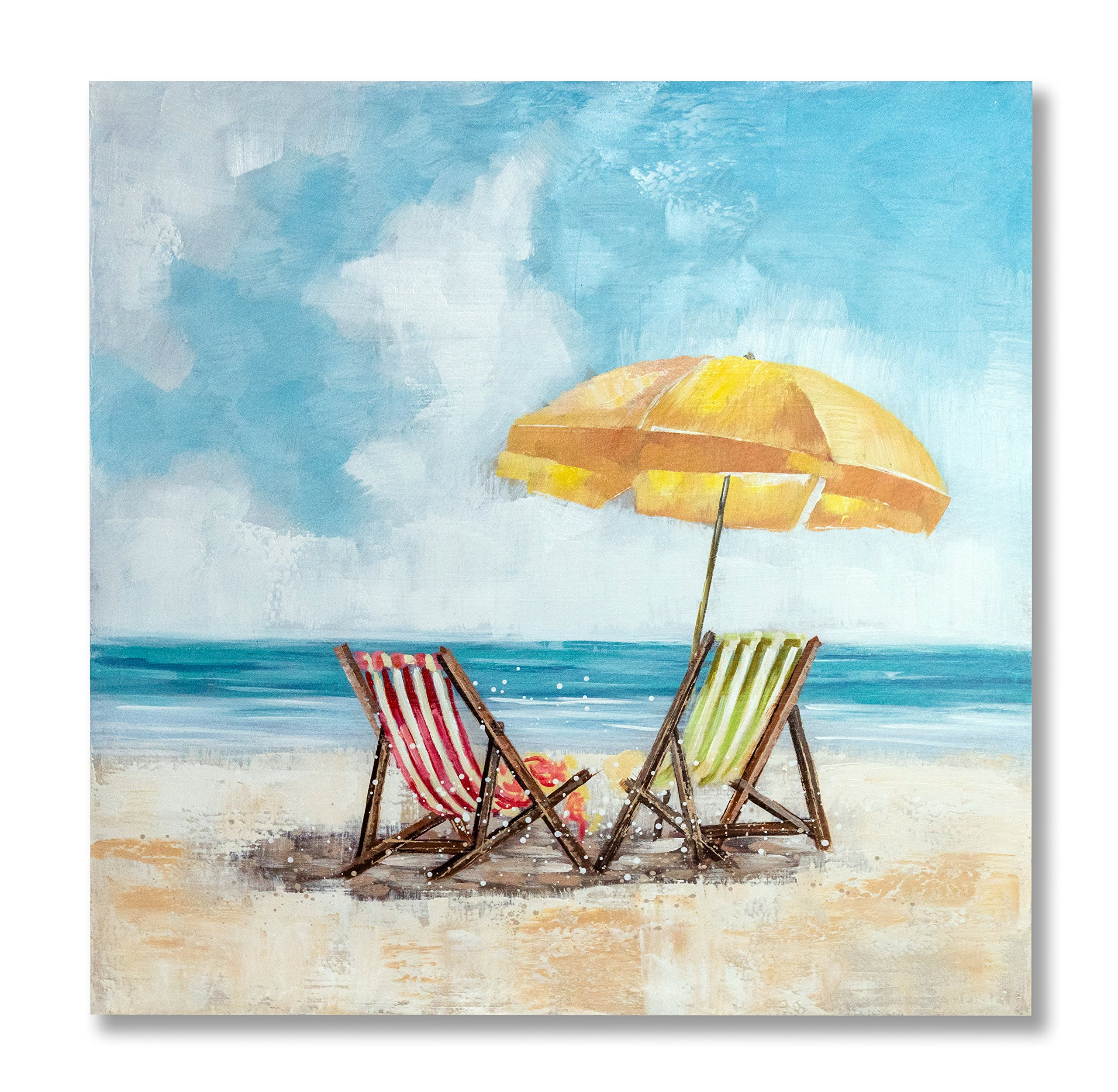 """In Liu Of   Modern Oil Painting on Canvas """"Treasured Views"""" (Beach Chairs and Umbrella) Stylized Fine Acrylic, Nature Wall Art   Contemporary Romantic Design   Easy-to-Hand Wood Frame   32'' x 32''"""