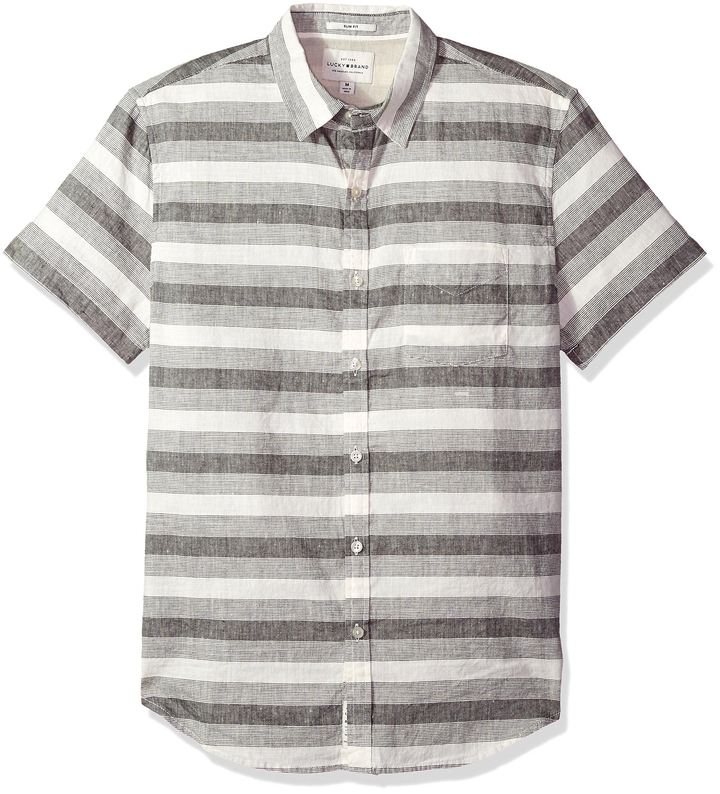 Lucky Brand Men's Casual Short Sleeve Stripe Ballona Button Down Shirt, Grey Stripe, L