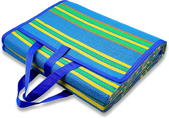 Amazon Com Camco Handy Mat With Strap Perfect For Picnics Beaches Rv And Outings Weather Proof And Mold Mildew Resistant Blue Green 72 X 108 42814 Automotive