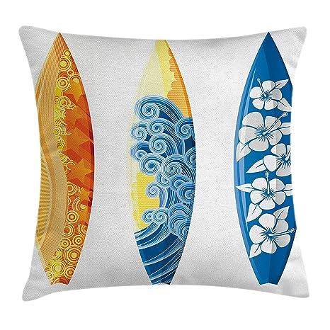 Surf manta almohada Funda de cojín por vocación Ambesonne, adornos de colores tablas de surf