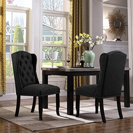 Fine Iconic Home Nayman Dining Side Accent Wingback Chair Button Tufted Velvet Upholstered Goldtone Nailhead Trim Tapered Espresso Wood Legs Modern Beatyapartments Chair Design Images Beatyapartmentscom