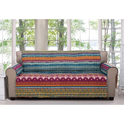 MN 1 Piece Orange Red Southwest Sofa Protector, Blue Grey Geometric Stripe  Pattern Southwestern Theme