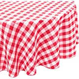LinenTablecloth 70-Inch Round Polyester Tablecloth Red & White Checker