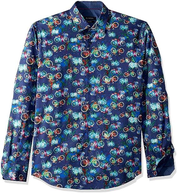 Bugatchi Mens Shaped Fit Long Sleeve Conversational Print Shirt, Night Blue, ...