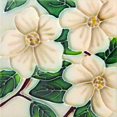 Amazon.com: Dogwood Decorative Ceramic Flower Wall Art Tile 4x4 ...