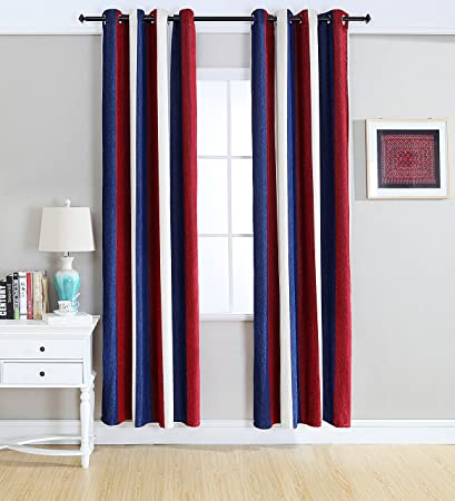 Kingsun Home Fashion Chenille Stripe Curtains Grommets Top Two Panels 52 X 84 Red Navy White Amazon Co Uk Kitchen Home