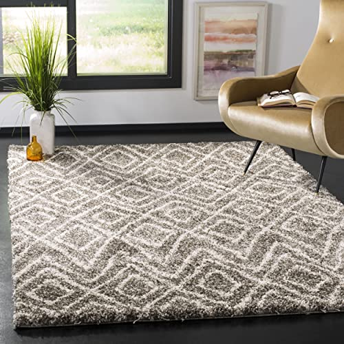 Safavieh Hudson Shag Collection SGH332B Grey and Ivory Area Rug 6 x 9