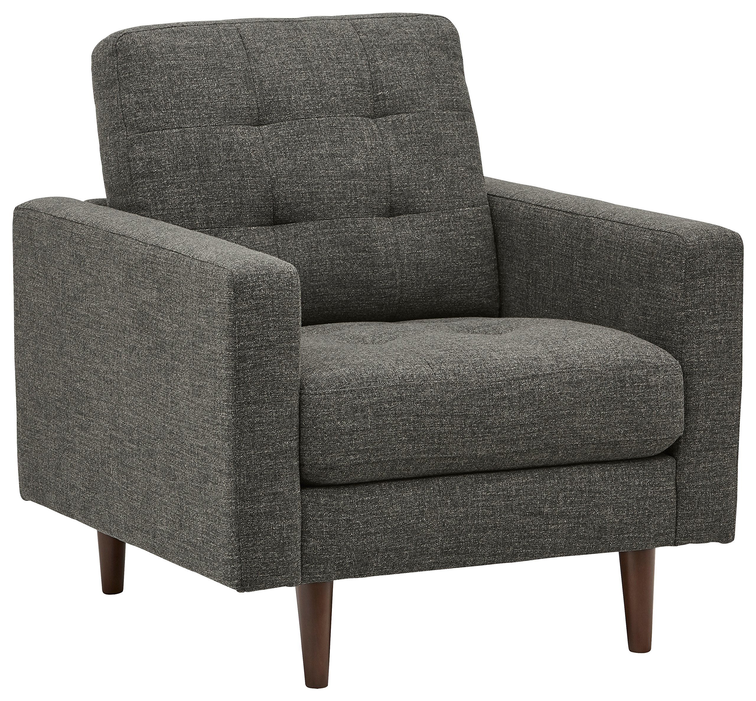Rivet Cove Modern Tufted Accent Chair with Tapered Legs, Mid-Century, 32.7''W, Dark Grey by Rivet