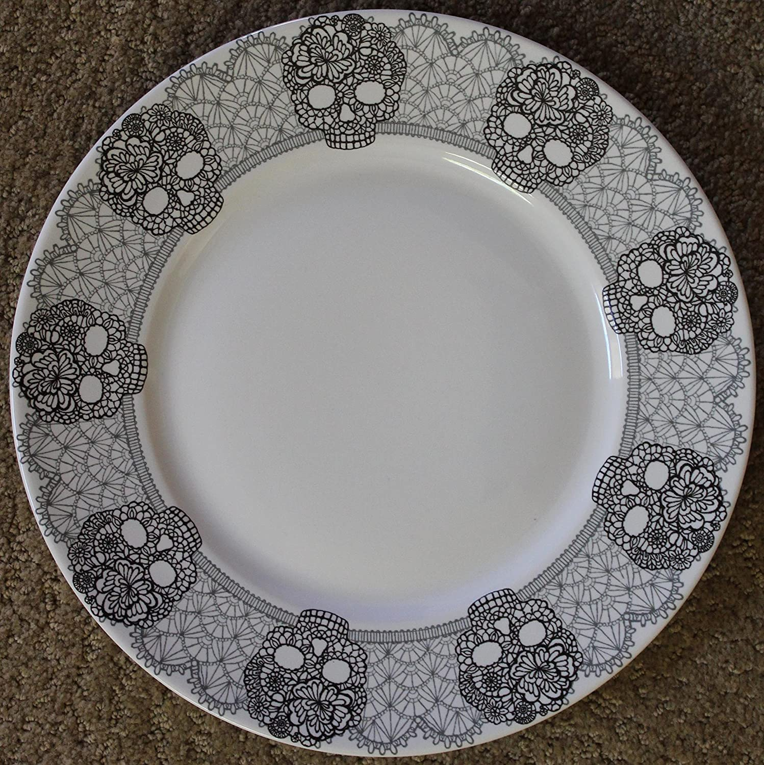 222 Fifth Halloween Skull Lace Dinner Plates - Approx.10- 3/4