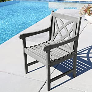Vifah Renaissance Outdoor Patio Hand-Scraped Wood Garden Armchair