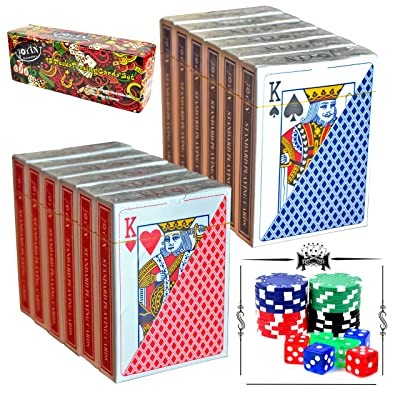 12 Decks Playing Cards with Poker Chips and Dice, Poker Size Regular Index (6 Red/6 Blue) by Joyin Toy: Toys & Games [5Bkhe1202547]