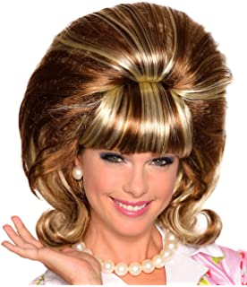 60S Princess Hairspray Bouffant Brown and Blonde Tracy Flip Beehive Style Wig
