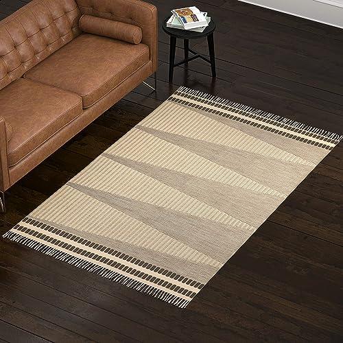 Rivet Modern Indoor-Outdoor Area Rug, 5 x 8 Foot, Beige Multicolor