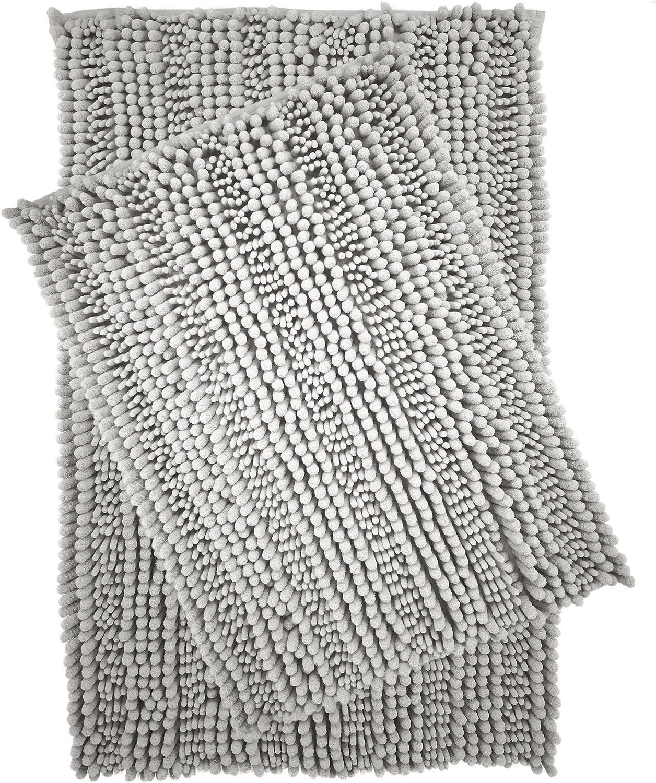 Polyte Premium Microfiber Shaggy Chenille Bath Mat Non Slip, 20 x 32 in / 17 x 24 in, Set of 2 (Gray)