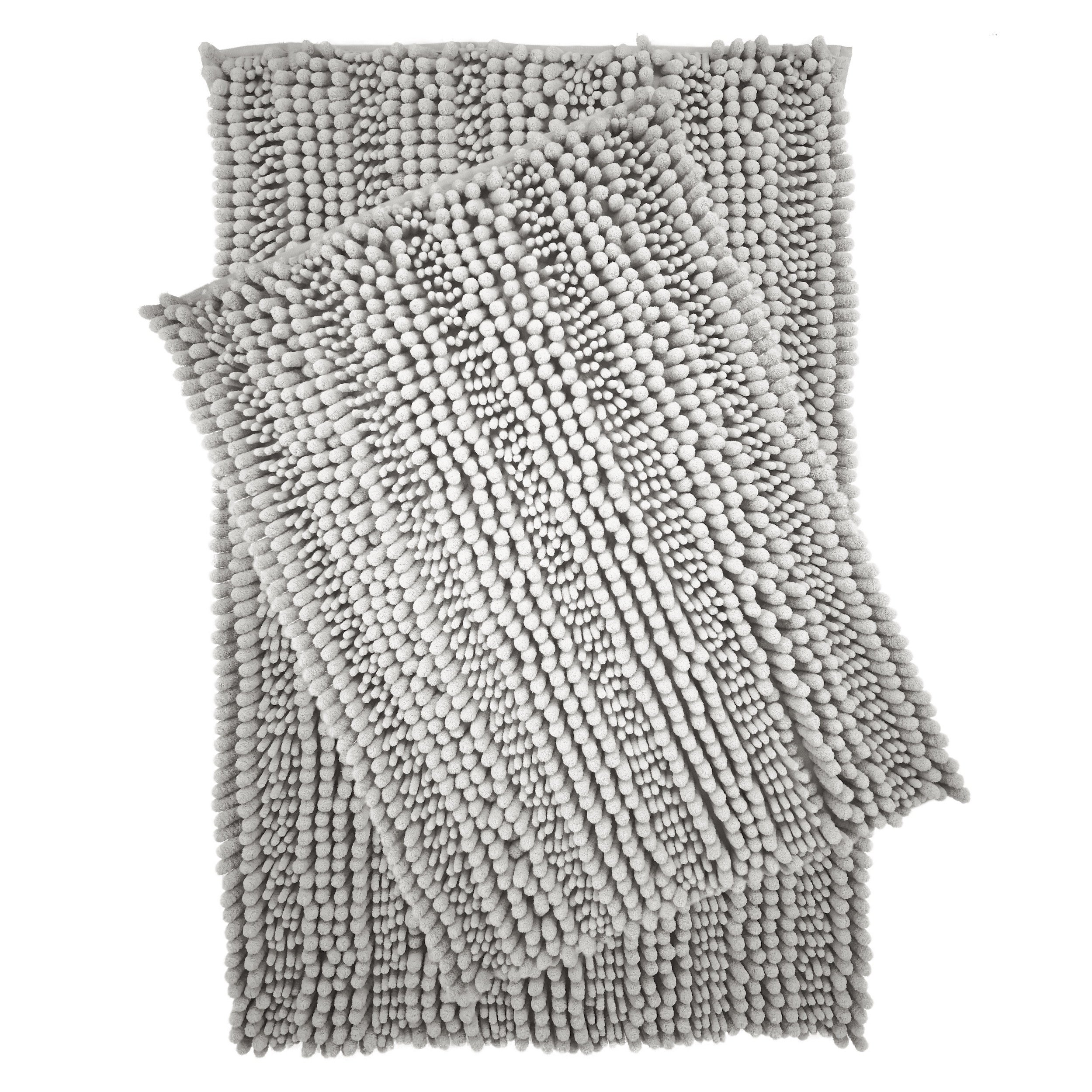 Polyte Premium Microfiber Shaggy Chenille Bath Mat, 20 x 32 in / 17 x 24 in, Set of 2 (Gray) by Polyte