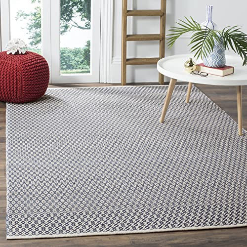 Safavieh Montauk Collection MTK339B Hand-woven Cotton Area Rug, 9 x 12 , Ivory Navy