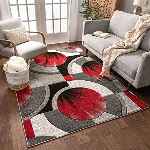 Well Woven Red Grey Yolo Modern Abstract Geometric 7'10″ x 9'10″ Area Rug