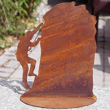 Edelrost Bergsteiger an Felsen 20x16cm Bodenplatte Tafel Geschenk