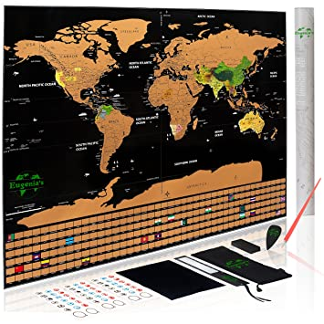 Amazon scratch off world map poster with us states outlined scratch off world map poster with us states outlined xlarge size 325 x 234 inch gumiabroncs Images