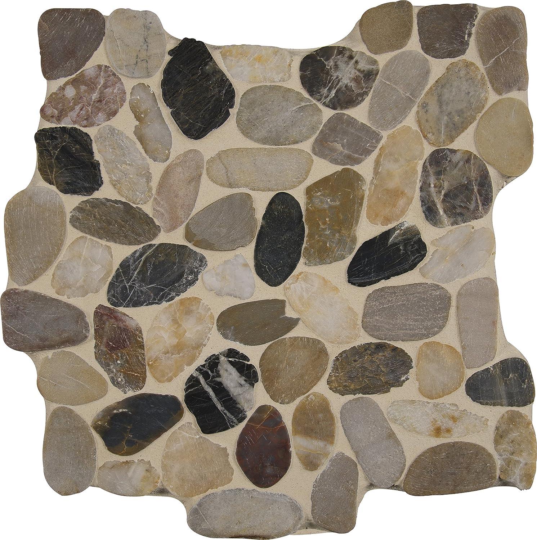 """Mini Polished Cobblestone Pebble Tile 12/"""" x 12/"""" River Rock Stone Tile"""