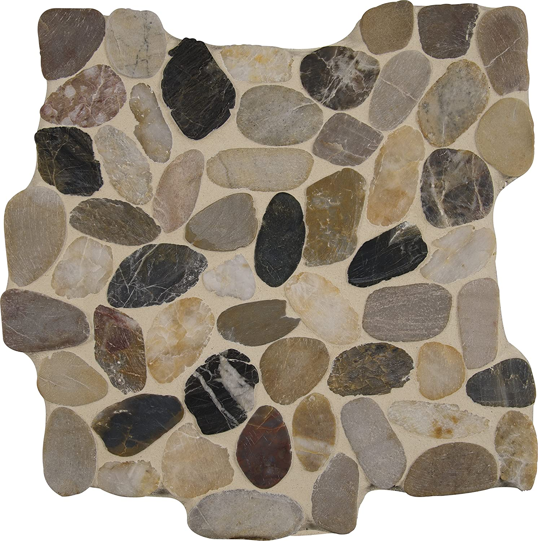 Glazed Berry Pebble Tile 1 sq.ft. Mesh Mounted