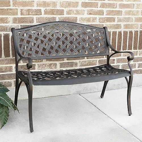 WE Furniture 42 Cast Aluminum Wicker Style Outdoor Bench