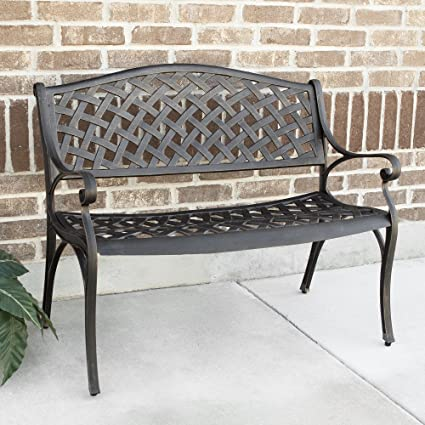 WE Furniture 42u0026quot; Cast Aluminum Wicker Style Outdoor Bench