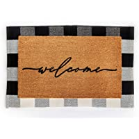 Layered Outdoor Welcome Mat Set - Coconut Coir (18-inch x 30-inch) and Woven Doormat (24-inch x 35-inch) Combo Inside or…