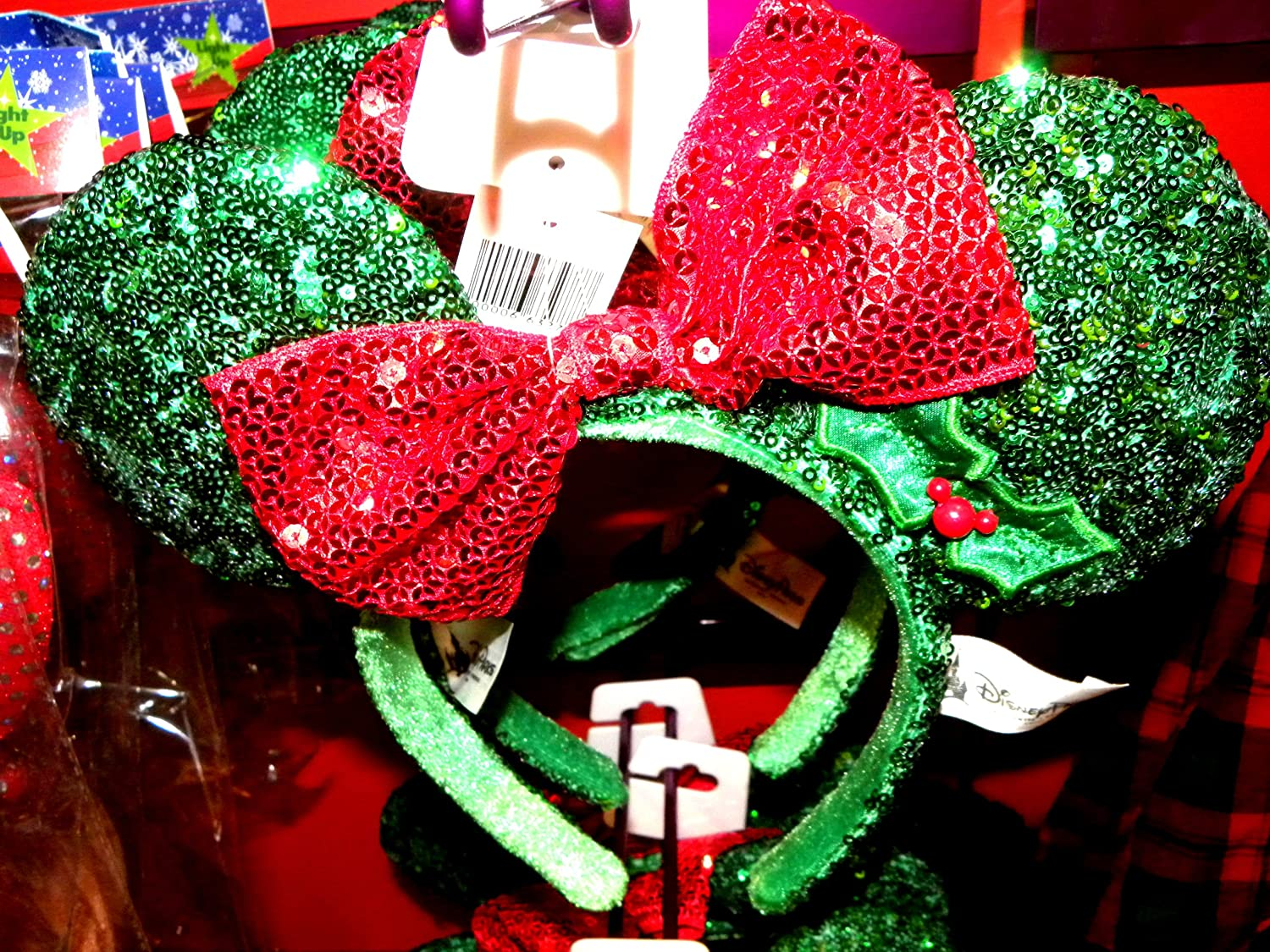 Disney Parks Minnie Mouse Ears Christmas Red Green Holiday Headband Bow Hat NEW